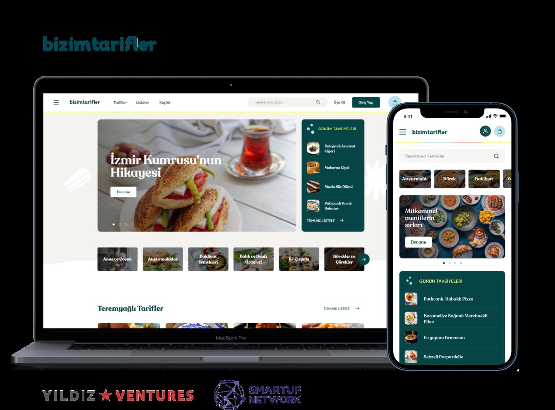 bizimtarifler.com web site and mobile app homepage screenshots