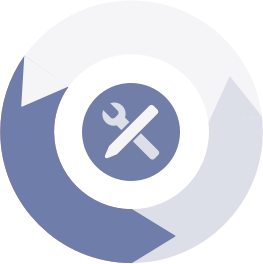 Blue and white Iterate to success icon | Software Development