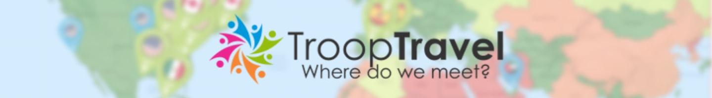 Startup TroopTravel logo on world map