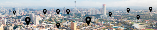Startup Zula Afrika Banner black locations on Johannesburg