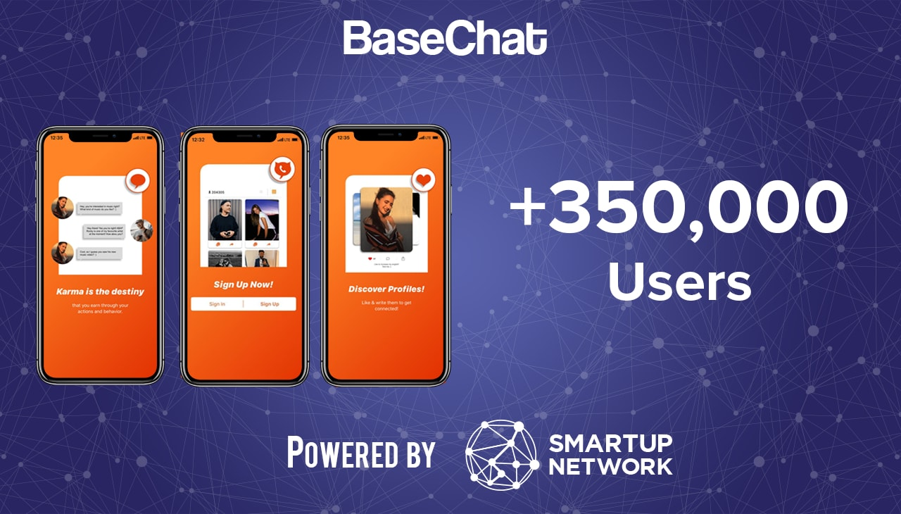 Startup BaseChat three orange mobile app screens 350,000 users