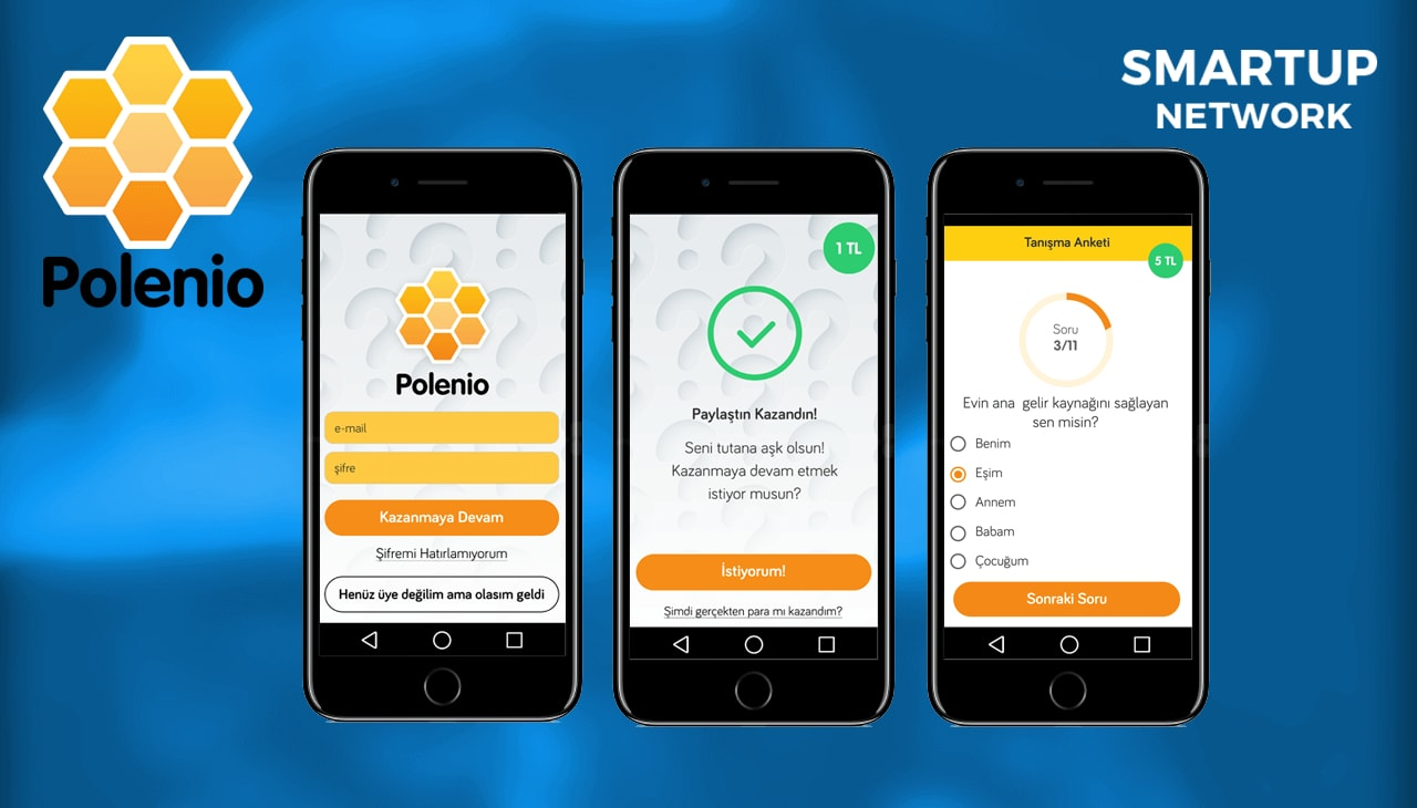 Startup Polenio three mobile screens from mobile app