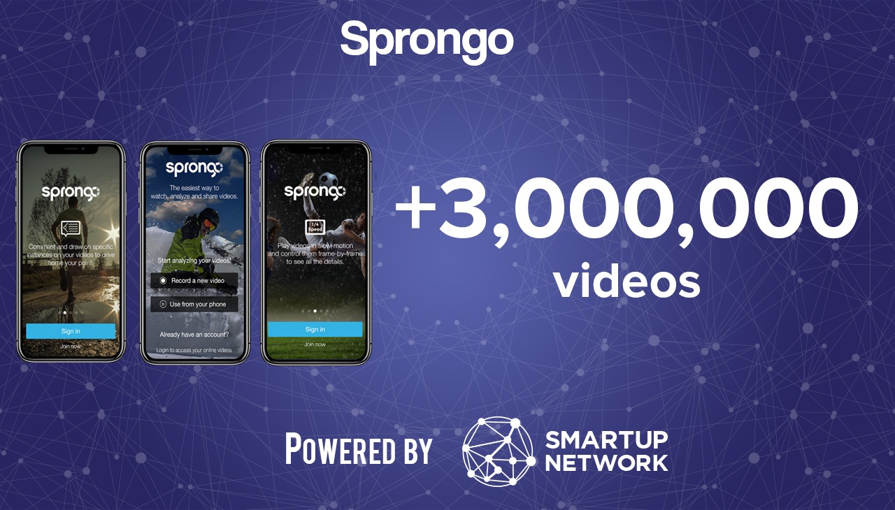 Startup Sprongo three mobile for app 3,000,000 videos