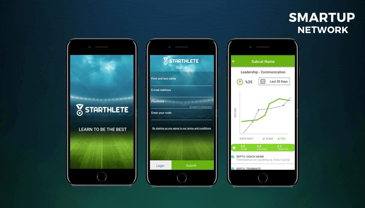 Startup Starthlete three mobile screens from mobile app