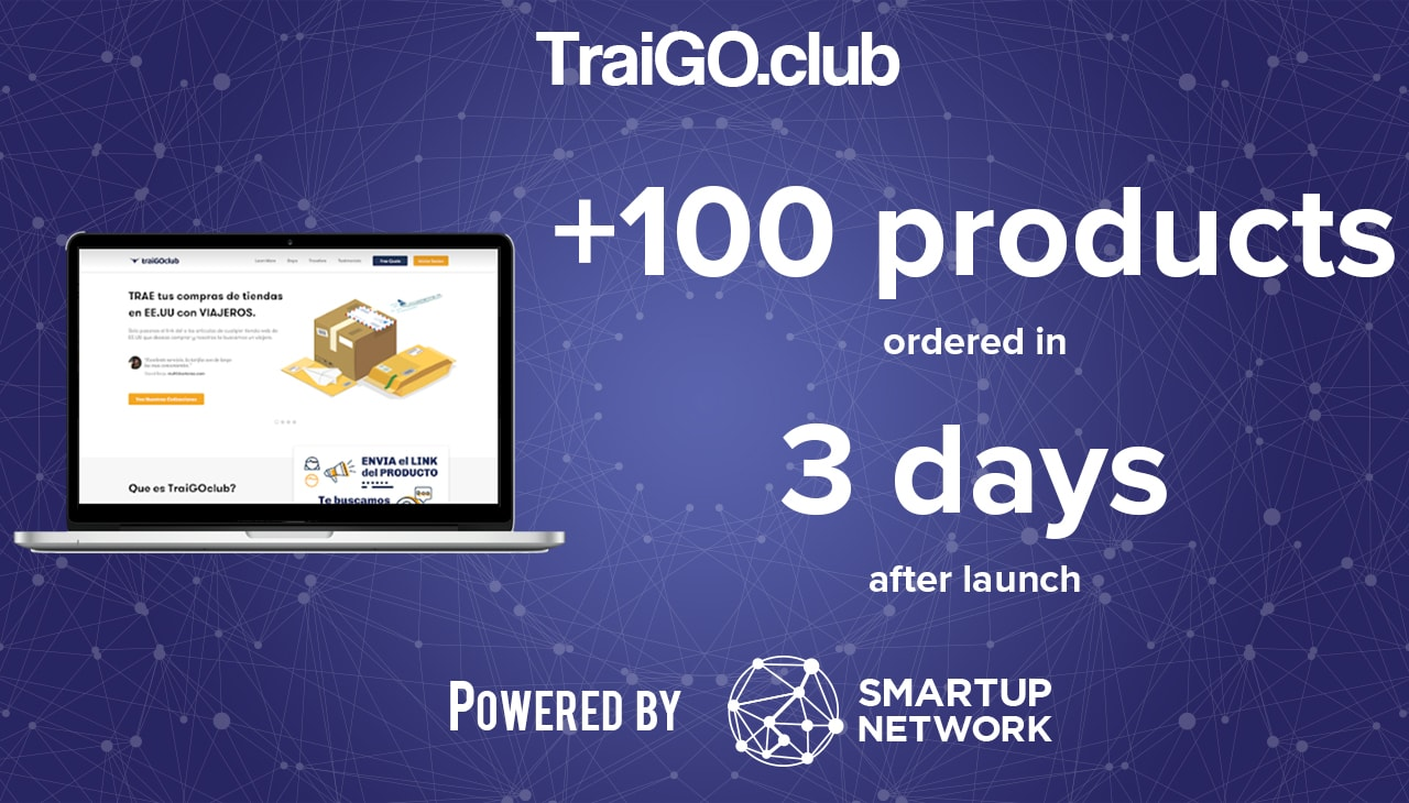 Startup Traigoclub with desktop screen ecuador