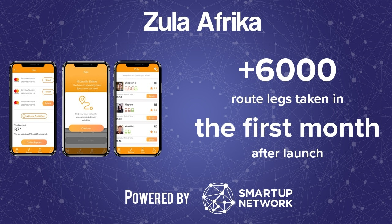 Startup Zula Afrika three mobile app screen 6000 route