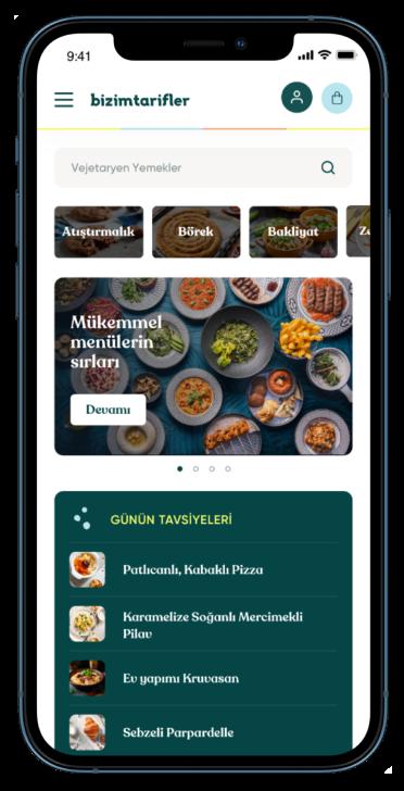 bizimtarifler mobile app homepage screenshot