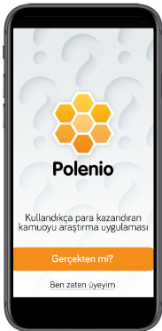 Startup Polenio  white mobile screen from mobile app polenio logo