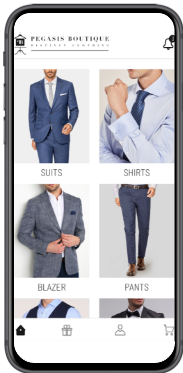 Blue and grey man suit mobile app