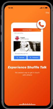 Startup BaseChat Orange Mobile Screen for shuffle talk