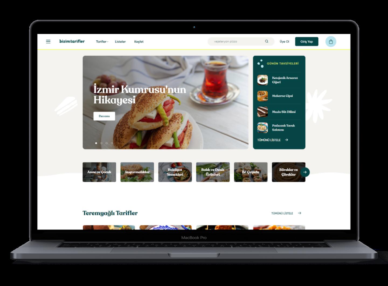 bizimtarifler.com web site homepage screenshot