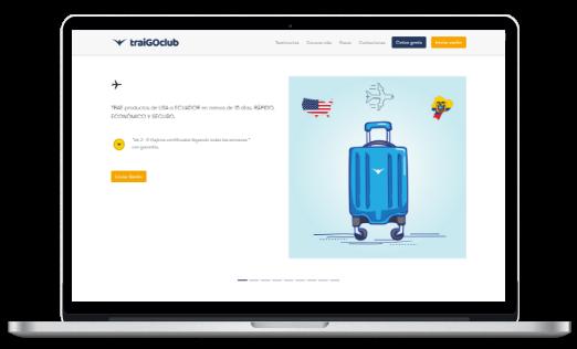 Startup Traigoclub Desktop screen blue luggage