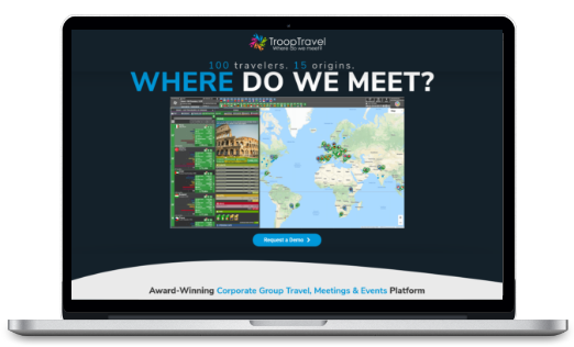 Startup TroopTravel black desktop screen and world map